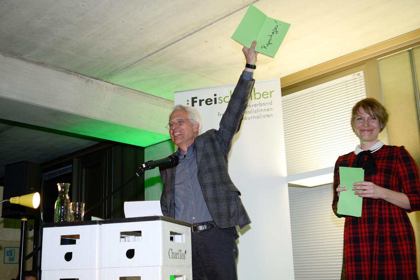 Freischreiber Michael Haller, Moderatorin Kathrin Hartman
